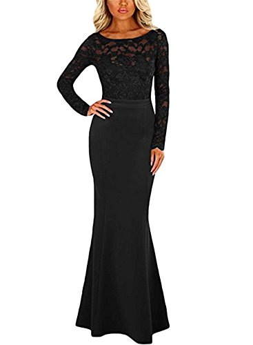 BeneGreat Women's Floral Lace Long Sleeve Formal Evening Gown Mermaid Wedding Party Dress with Bow Back Black M