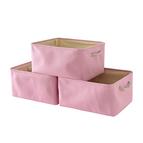 (TheWarmHome Storage Basket with Sturdy Rod, Collapsible Storage Bins Set Works As Baby Basket, Toy Storage, Nursery Baskets (Pink, 3 Pack))