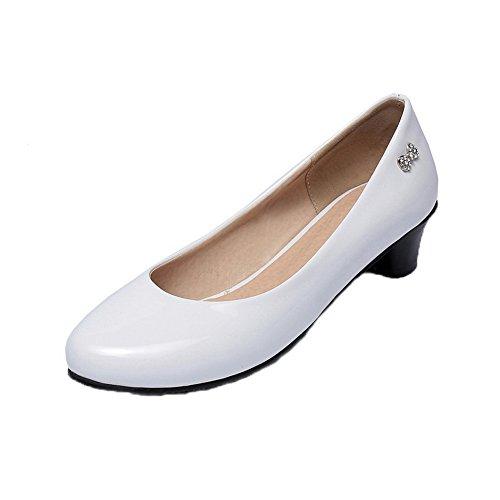 Amoonyfashion Zapatos De Mujer De Charol De Tacón Bajo Con Punta Redonda Y Zapatos De Color Blanco