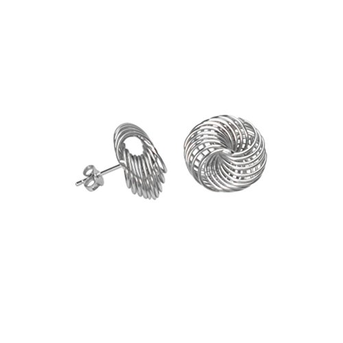 Jewelry Spinning Studs (Love Knot Stud Earrings 15mm Spinning Multirow Loops Rhodium on Sterling Silver)