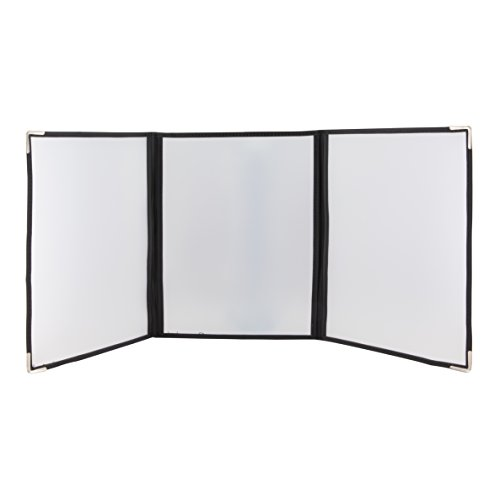 - 18 Pack of Triple Fold Out Page Restaurant Menu Cover Holders - Transparent - Double Stitched - Metal Corners - Black