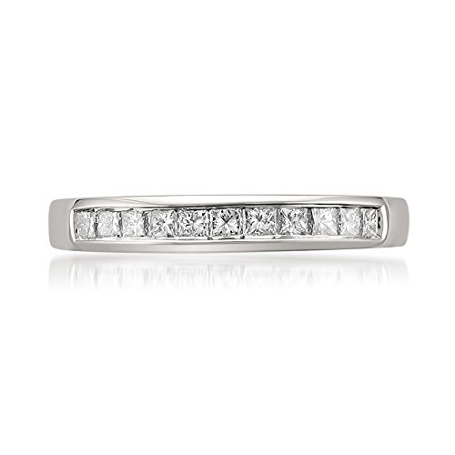 La4ve Diamonds Platinum Princess-Cut Diamond Bridal Wedding Band Ring (1/2 cttw, I-J, I1-I2), Size 4.5