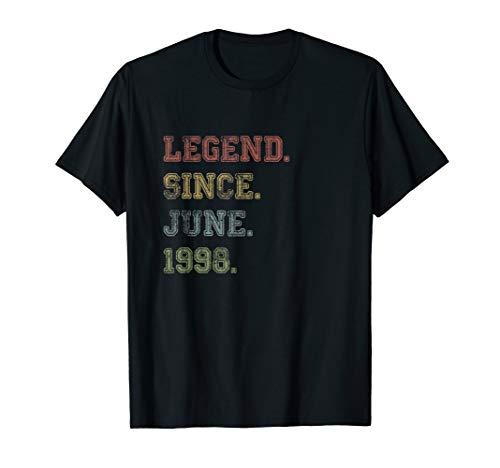 21st Birthday Gift Legend Since June 1998 Shirt For Men Him