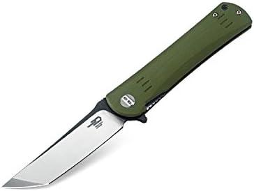 Bestech Knife BG06B Folder 3.75 in Plain Blade G10 Handle Hunting-Folding-Knives, Green