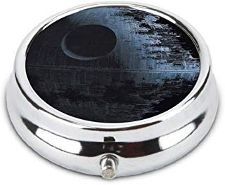 OceanArt Custom Star Wars Death Star Unique Silver Tone Round Pill Box Medicine Tablet Organizer or Coin Purse