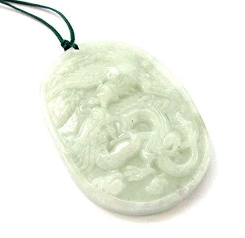 - Jadeite Jade Dragon Phoenix Love Pair Amulet Pendant