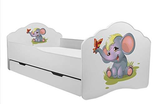 KOBI Lettino per Bambini Letto Elefante Misura 160x 80cm con Materasso e cassetto Prezzi offerte