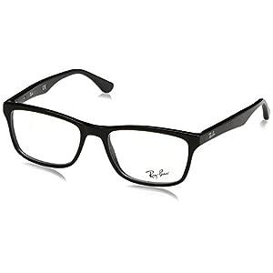Ray-Ban Men's Rx5279 Square Eyeglasses,Shiny Black,55 mm