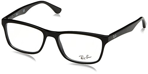 Ray-Ban RX5279 Square Eyeglass Frames, Shiny Black/Demo Lens, 53 mm