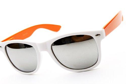 Retro Classic Retro Mirrored Sunglasses (White/orange Arm-silver, - Orange Wayfarer Mirrored Sunglasses