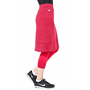 Snoga Full-Coverage Workout Pencil Skirt w/ Cropped Leggings - Cranberry, Large