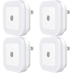 Dimmable LED Night Light, SYCEES Plug-in Nightlight with Dusk-to-Dawn Sensor for Bedroom, Kids Room, Bathroom, Kitchen, Hallway, Daylight White, 4-Pack