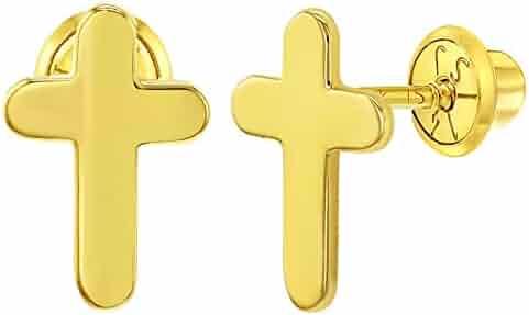 197305887 14k Yellow Gold Plain High Polish Cross Screw Back Earrings Infants Kids  Girls