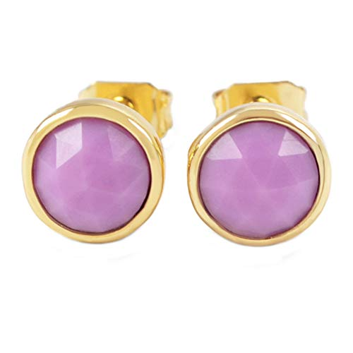 - ZENGORI 1 Pair 9x9MM Gold Plated Round Sugilite Bezel Post Studs Earrings ZER0052