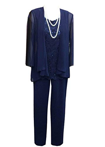 Women's 3 Pieces Lace Chiffon Mother of Bride Dress Pant Suits with Jacket Outfit for Wedding Groom(US 22 Plus, Royal Blue) ()