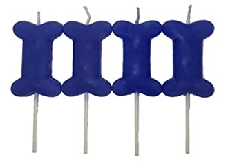 Blue Dog Birthday Candles 4 Pack Bone Shape