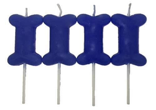 Blue Dog Birthday Candles 4 Pack Bone Shape