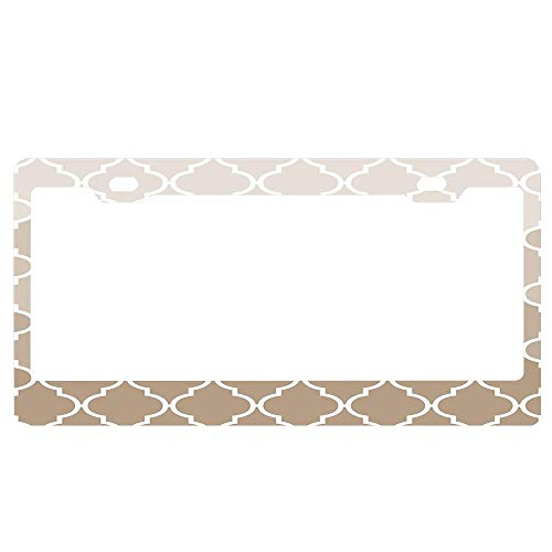 (Trendy Chic Girly Cream Brown Quatrefoil Pattern Black License Plate Frame, Auto Car Truck Tag Frame, Aluminum Metal License Plate Cover Holder for US Standard)