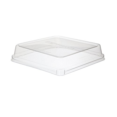 Bulk WorldView Renewable and Compostable Lids, 8'' Shallow, Fits 8in Square Sugarcane Containers: Eco-Products EP-SCS8SLID (600 Sugarcane Take Out Lids)