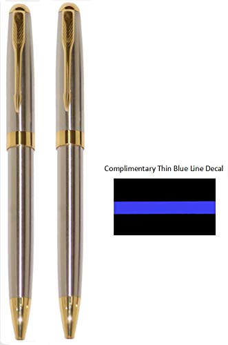 Stainless Steel and Gold Police Detective Pen   Police Gift   Executive Office Pens   Police Desk Pen   Professional Pen for Detectives   Investigators Pens   Office Pen for Men   Office Pen for Women