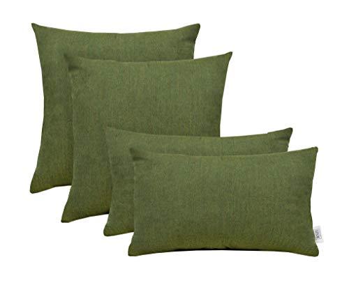 RSH Décor Set of 4 Indoor/Outdoor Square & Rectangle Lumbar Throw Pillows made of Sunbrella Canvas Fern Green (20
