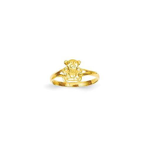 14k Solid Yellow Gold Teddy Bear Baby (Teddy Bear Yellow Ring)