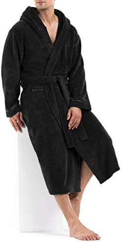 DAVID ARCHY Mens Soft Fleece Plush Robe Full Length Long and Knee Length Big and Tall Bathrobe