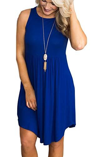 Cotton Print Wrap - RichCoco Women's Summer T Shirt Dresses Casual Loose Swing Sleeveless Midi Dress with Pockets (Deep Blue, XL)