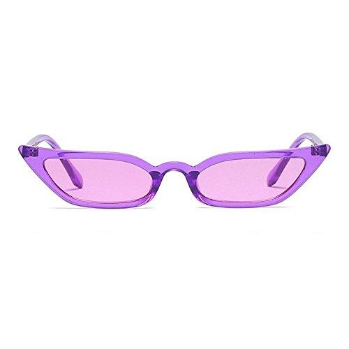 Dragon Honor Women Vintage Cat Eye Sunglasses Translucent Retro Small Square Shade Eyewear - Sunglasses Purple Dragon