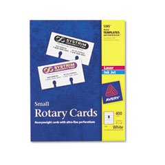 - Small Rotary Cards, Laser/Inkjet, 2 1/6 x 4, 8 Cards/Sheet, 400 Cards/Box