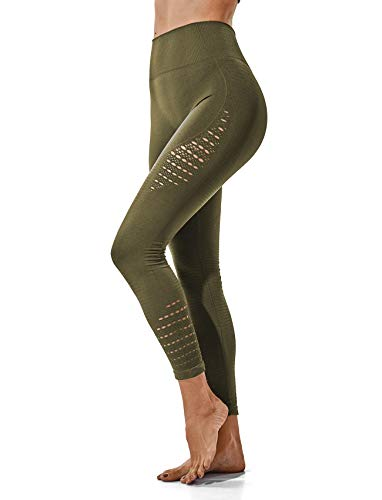 - Women's High Waist Active Energy Leggings Slimming Seamless Compression Fit Pants Workout Tights Tummy Control S Olive