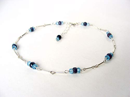 - Sapphire blue topaz silver anklet, genuine gemstones sterling silver, adjustable 9-10 inches, handmade Let Loose Jewelry