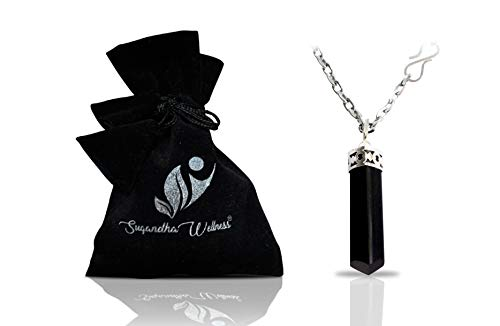 Black Tourmaline - Natural Black Tourmaline Crystal Healing Necklace - for Root Chakra | Dispels Negative Energy | Guard Against Environmental Pollutants | Natural Stress Aid | Comes with Stylish Stainless Steel Chain