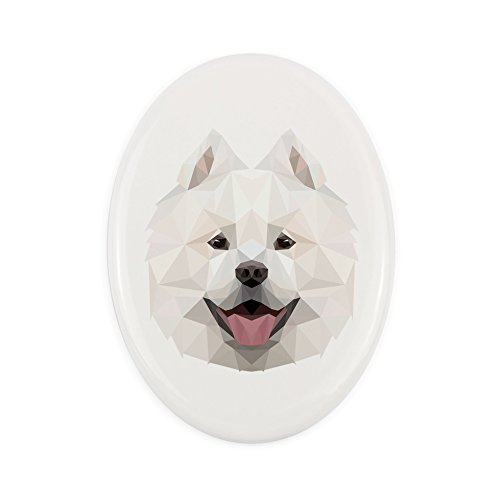 (Samoyed, Tombstone Ceramic Plaque with an Image of a Dog, Geometric)