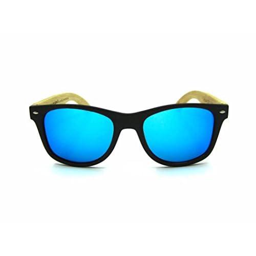 7e66efd8f0 Gafas de madera MOSCA NEGRA modelo MIX SOLID BLACK and ICE BLUE wood  sunglasses Mejor