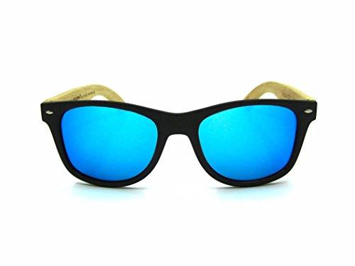 modelo NEGRA BLUE de BLACK MIX sunglasses SOLID Gafas madera MOSCA ICE and wood ZSITptT6qn
