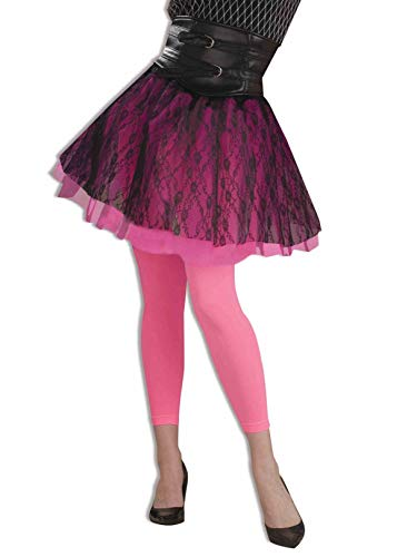 Neon Pink Footless 80S Leggings for Adults -