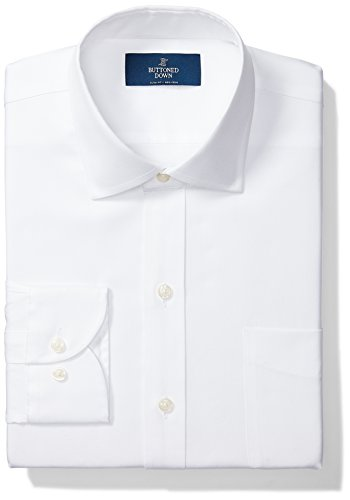 BUTTONED DOWN Men's Slim Fit Spread Collar Solid Non-Iron Dress Shirt (Pocket), White, 17.5