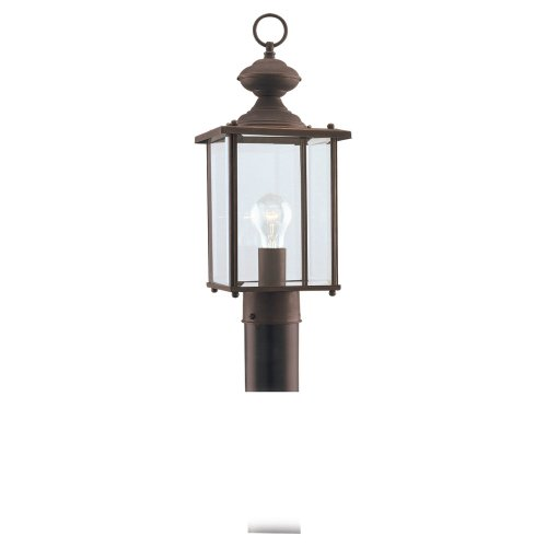 Sea Gull Lighting 8257-71 Single-Light Jamestowne Post Lantern with Clear Beveled Glass, Antique (Antique Bronze Outdoor Post Light)