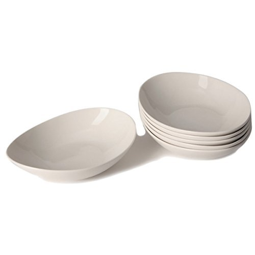Dishes China Discount (Red Vanilla Whisper White Coupe Bone China Pasta Bowls (Set of 6))