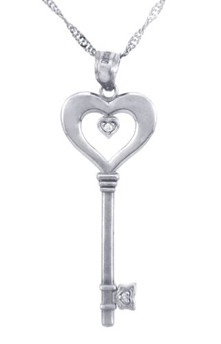 10 ct 471/1000 Valentines SonLa Coeur Diamants - Or Blanc Key et Coeur- Avec Diamant (w Chaine) Pendentif Collier (Livre Avec un 45 cm Chaine)