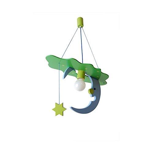 Splendida e grande 54cm x 26cm lampada LUNA lampadario cameretta bambini in legno. ItalPol Produkt