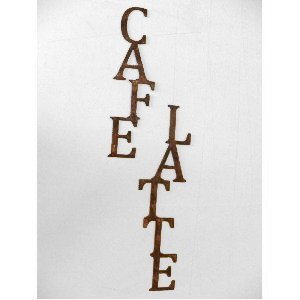 Cafe Latte Words Vertical Metal Wall Art Home Kitchen Decor