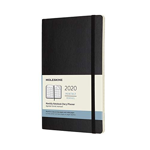 Moleskine 2020 Monthly Planner, 12M, Large, Black, Soft Cover (5 x ()