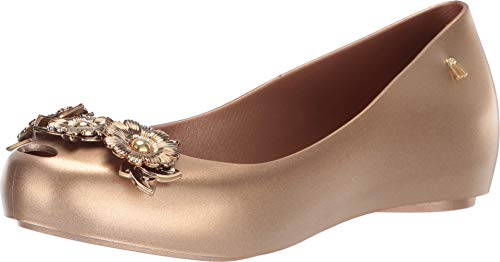 melissa Womens Harmonic Flower Chrome Ballet Flat, Gold, Size 6