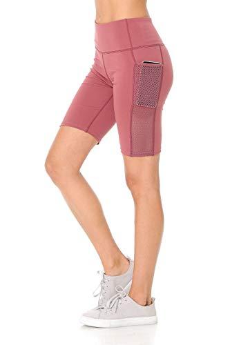 - Auliné Collection Womens High Waist Activewear Running Yoga Workout Biker Shorts Solid Brick SM