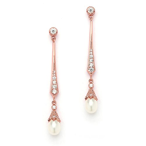 (Mariell Slender Rose Gold CZ Vintage Dangle Earrings with Freshwater Pearl Drops - Bridal Wedding Style)