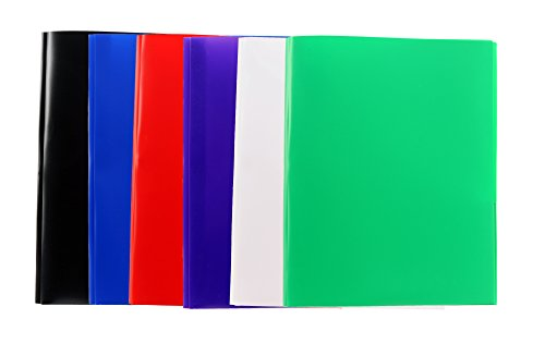 - 6-Pack Two Pocket Poly Portfolio with Prongs - Red, White, Green, Purple, Blue, Black