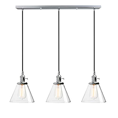 Phansthy 3 Light Rustic Chandeliers Chrome Polished Kitchen Island Ceiling Light with 7.3 Inches Cone Glass Light Shade(Chrome, Cone)