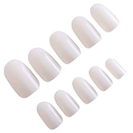 nicebuty - 600 uñas postizas para pintar uñas de color natural (redondas)